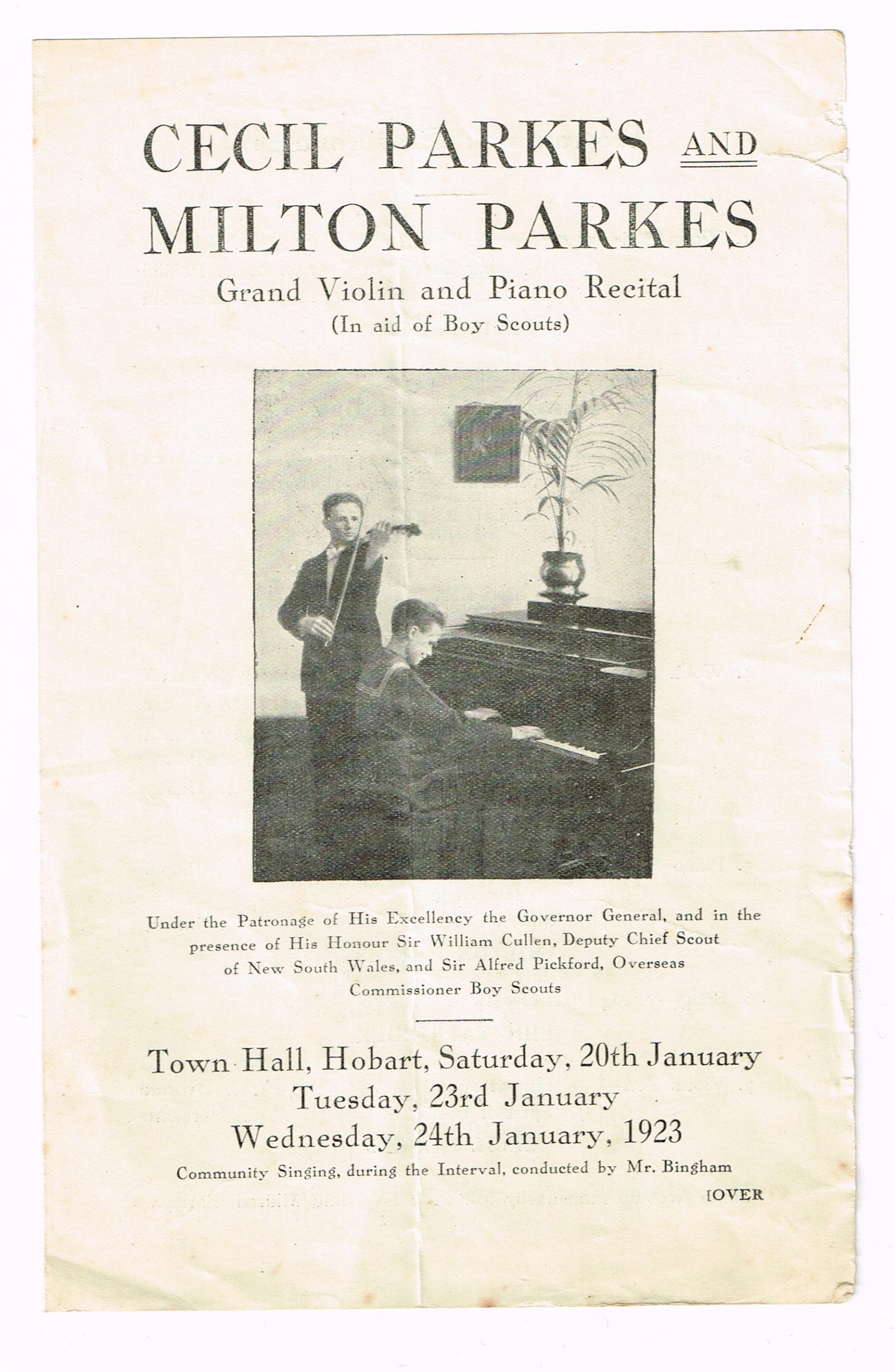 Music poster of concert with Cecil and Milton Parkes