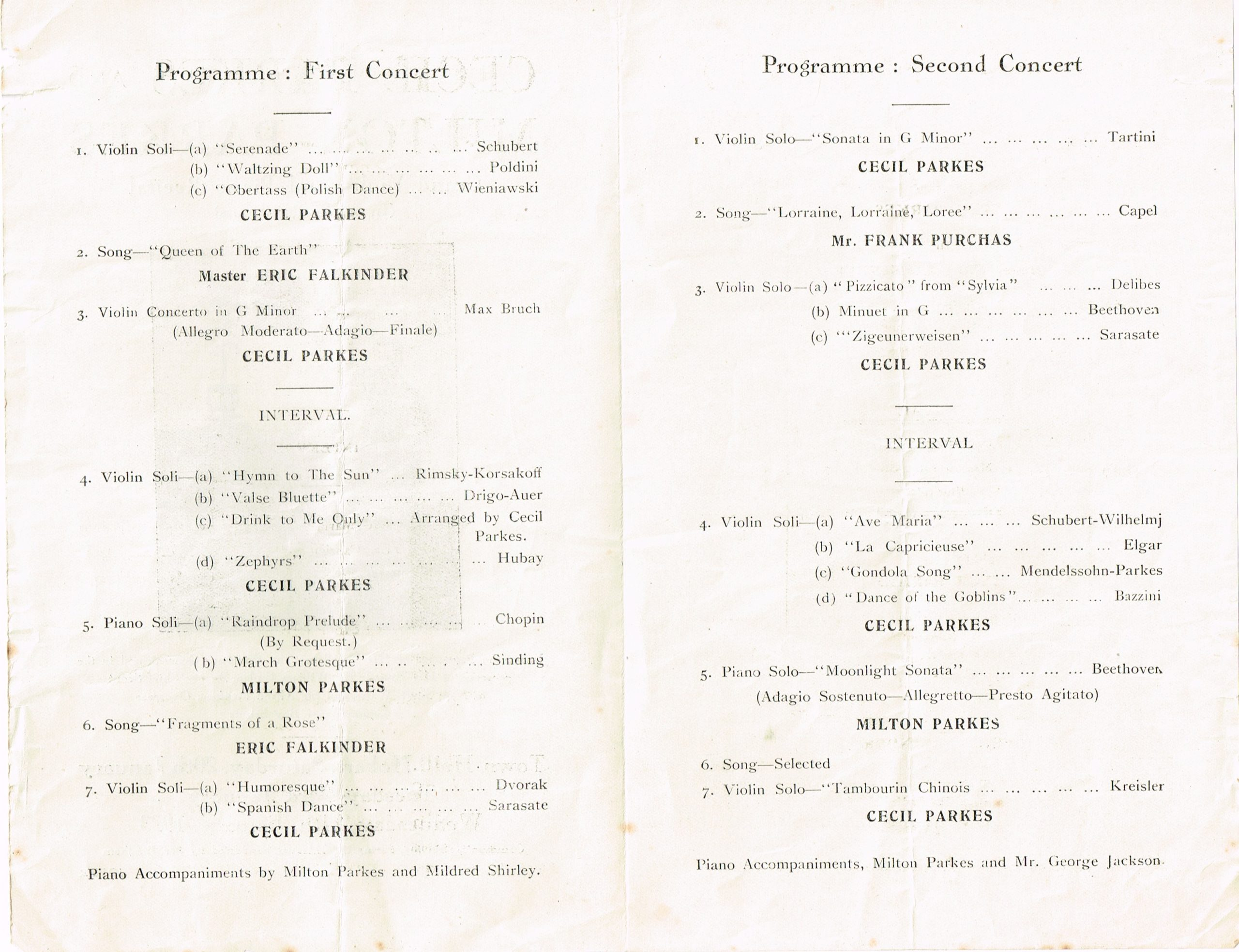 Music Programme performed by Milton and Cecil Parkes